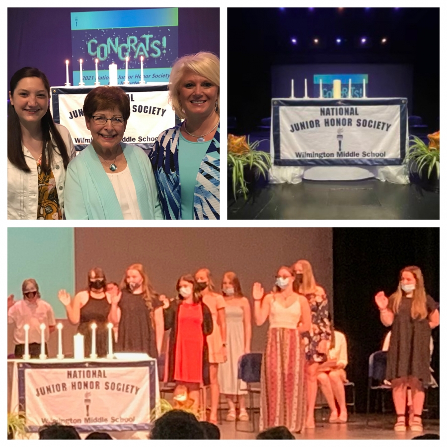Photo collage from NJHS induction ceremony